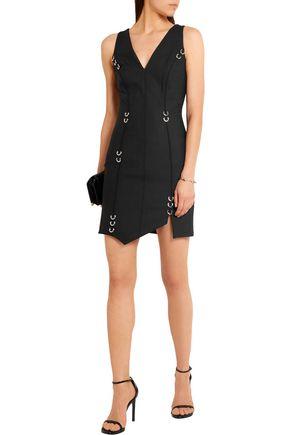 MUGLER Embellished stretch-wool mini dress