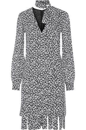MICHAEL KORS COLLECTION Fringed floral-print silk-crepe dress