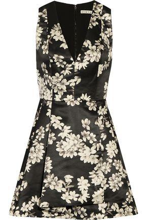 ALICE+OLIVIA Tanner pleated floral-print satin mini dress