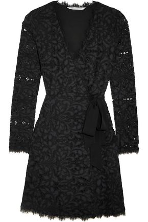 DIANE VON FURSTENBERG Shaelyn corded lace wrap mini dress