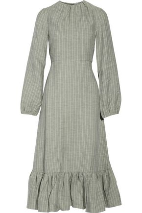 J.W.ANDERSON Ruffled striped linen midi dress