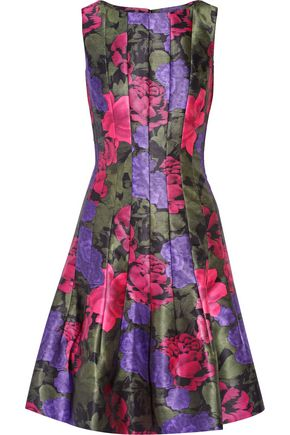 OSCAR DE LA RENTA Printed satin-twill dress