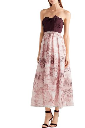 OSCAR DE LA RENTA Duchesse-satin and printed silk-organza dress