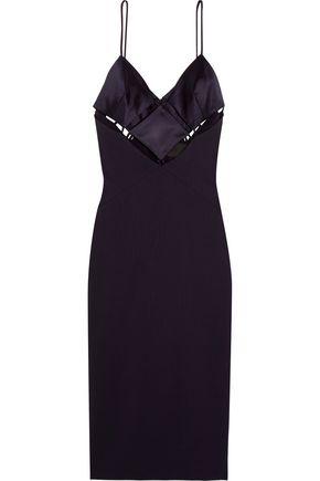 CUSHNIE ET OCHS Maxine cutout satin and stretch-jersey dress