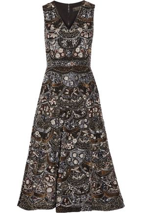 ALICE + OLIVIA Elina embellished silk-chiffon dress