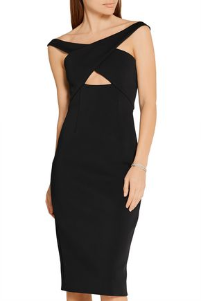 CUSHNIE ET OCHS Off-the-shoulder cutout neoprene dress