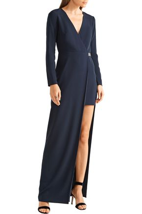 HALSTON HERITAGE Asymmetric embellished crepe gown