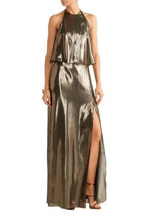 HALSTON HERITAGE Silk-blend lamé halterneck gown