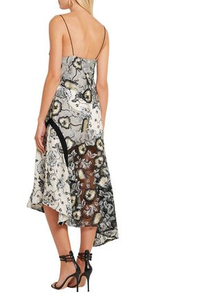 SELF-PORTRAIT Nivienne embroidered tulle and printed crepe de chine dress
