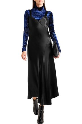 TIBI Asymmetric satin dress