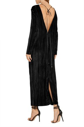 ROSETTA GETTY Plissé-velvet maxi dress