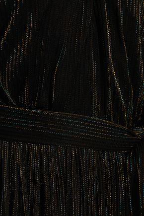 ROSETTA GETTY Cutout lamé-striped mesh maxi dress