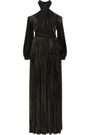 ROSETTA GETTY Cutout lamé-striped mesh maxi dress