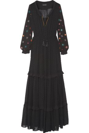 SALONI Alexia embroidered fil coupé maxi dress
