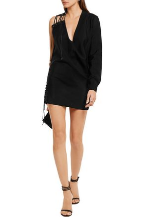 ANTHONY VACCARELLO One-shoulder lace-up mohair and wool-blend mini dress