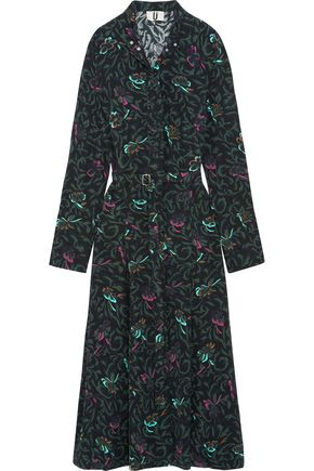 TOPSHOP UNIQUE Tempus belted printed silk crepe de chine midi dress