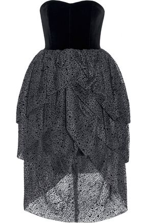 ISA ARFEN Tiered velvet and flocked tulle dress