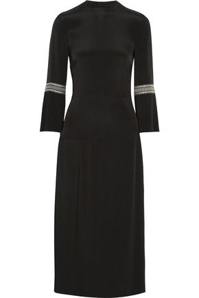 VILSHENKO Dawn pleated embroidered crepe dress