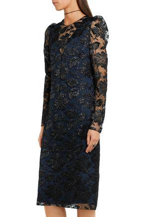 LANVIN Metallic floral-lace dress
