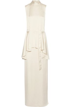 LANVIN Pussy-bow washed-twill peplum gown