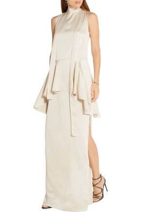 LANVIN Washed-twill peplum maxi dress