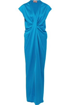 LANVIN Twist-front washed-satin maxi dress