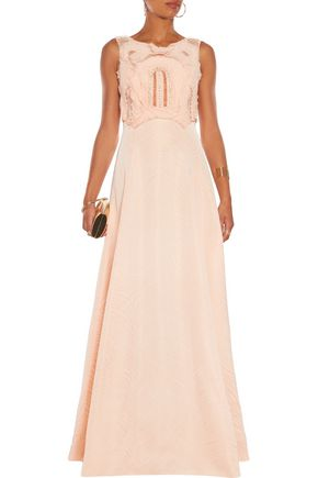 BADGLEY MISCHKA Embellished tulle and jacquard gown