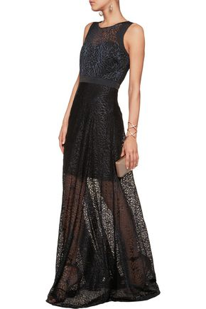 BADGLEY MISCHKA Embroidered tulle gown