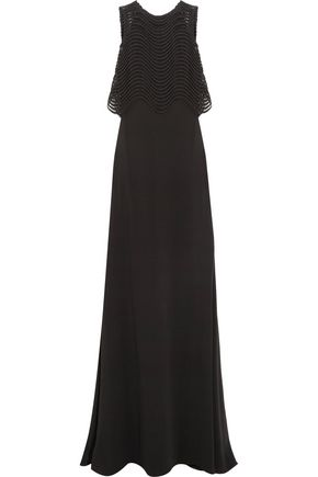 BADGLEY MISCHKA Jennifer embroidered mesh and crepe gown