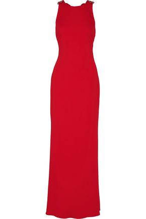 BADGLEY MISCHKA Embellished crepe de chine gown