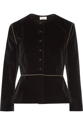 ISA ARFEN Embroidered stretch-velvet blazer