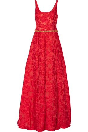 WOMAN CRYSTAL-EMBELLISHED BROCADE GOWN RED