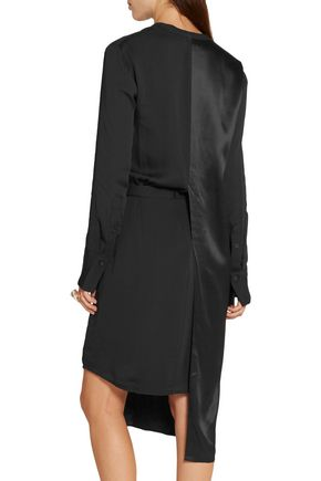 DKNY Asymmetric paneled crepe and satin shirt dress