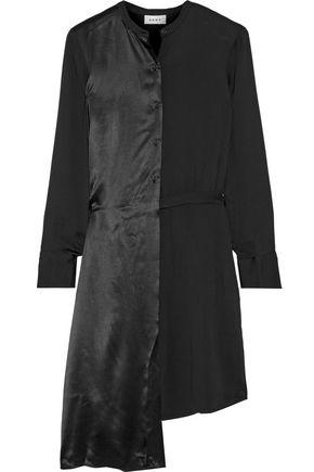 DKNY Asymmetric paneled crepe and satin shirt dress