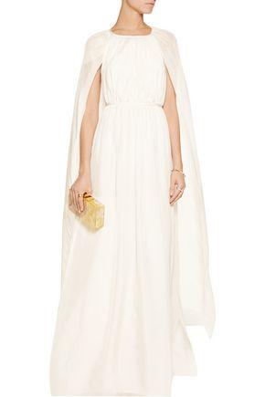 RACHEL ZOE Henrietta cape-effect silk-chiffon gown