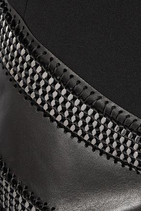 MUGLER Embellished leather-paneled crepe dress
