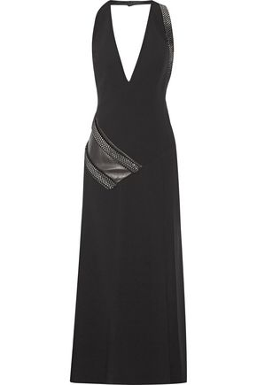 MUGLER Embellished leather-paneled crepe dress