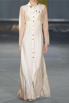JOSEPH Ivan velvet-trimmed paneled silk-blend chiffon maxi dress