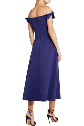 SALONI Ruth off-the-shoulder stretch-neoprene midi dress