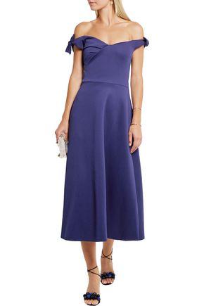 SALONI Ruth off-the-shoulder stretch-neoprene midi dress