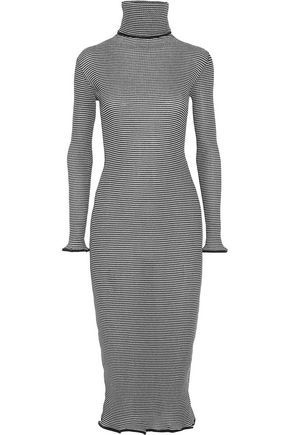 KÉJI Metallic-striped cotton-blend turtleneck dress