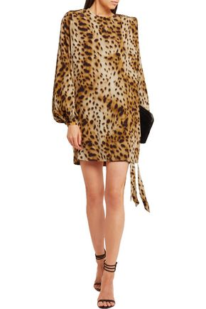 RONALD VAN DER KEMP Cheetah-print silk mini dress