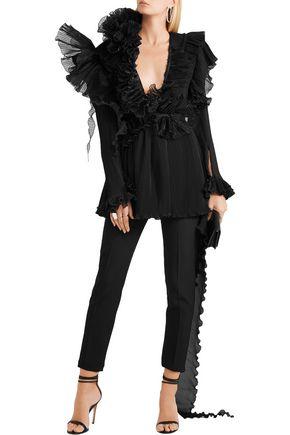 RONALD VAN DER KEMP Two-piece ruffled plissé silk-chiffon and organza gown