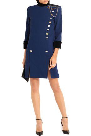RONALD VAN DER KEMP Embellished cotton velvet-trimmed wool-crepe mini dress