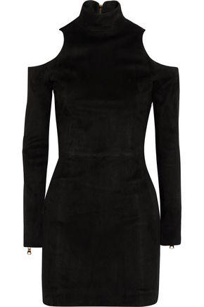 BALMAIN Cutout suede mini dress