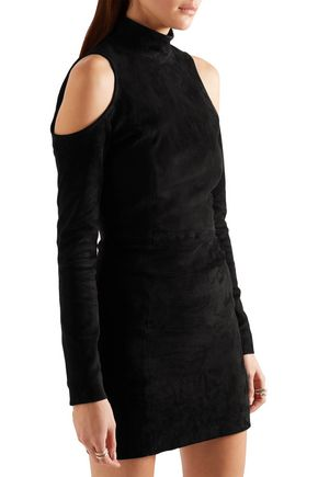 BALMAIN Cold-shoulder suede mini dress