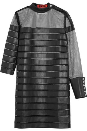 RONALD VAN DER KEMP Paneled leather and mesh mini dress