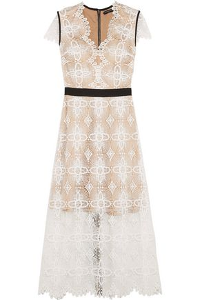 CATHERINE DEANE Garland macramé lace midi dress