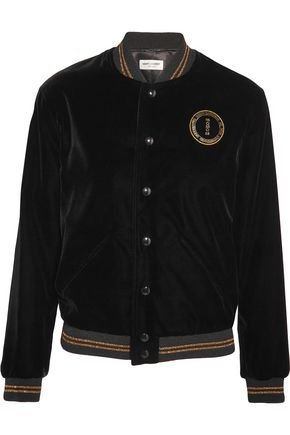 SAINT LAURENT Palladium embellished embroidered velvet bomber jacket