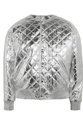SAINT LAURENT Quilted metallic leather bomber jacket
